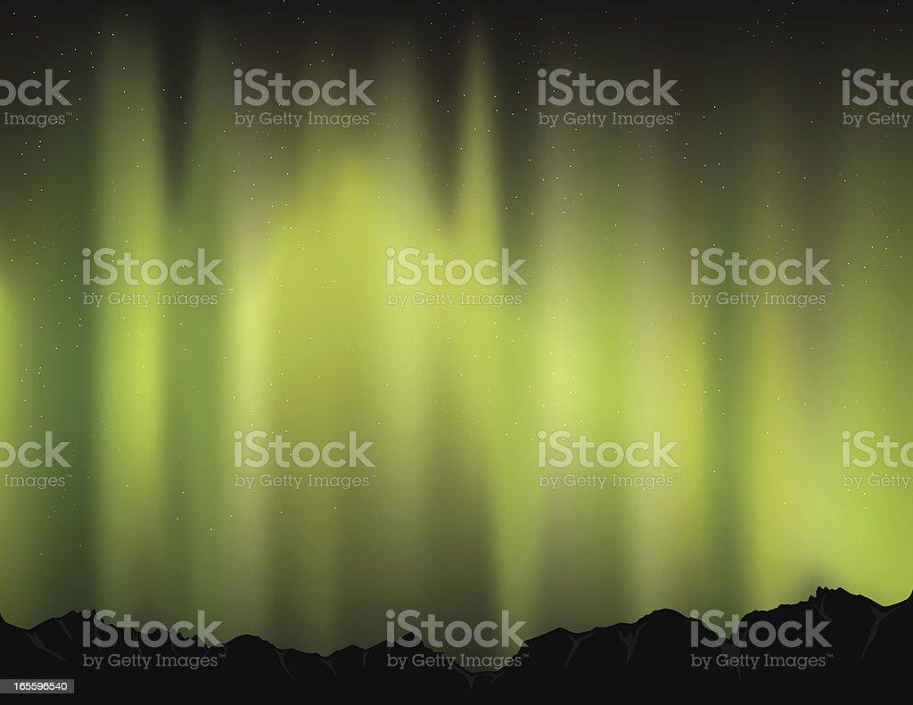 Green Polar Lights vector art illustration