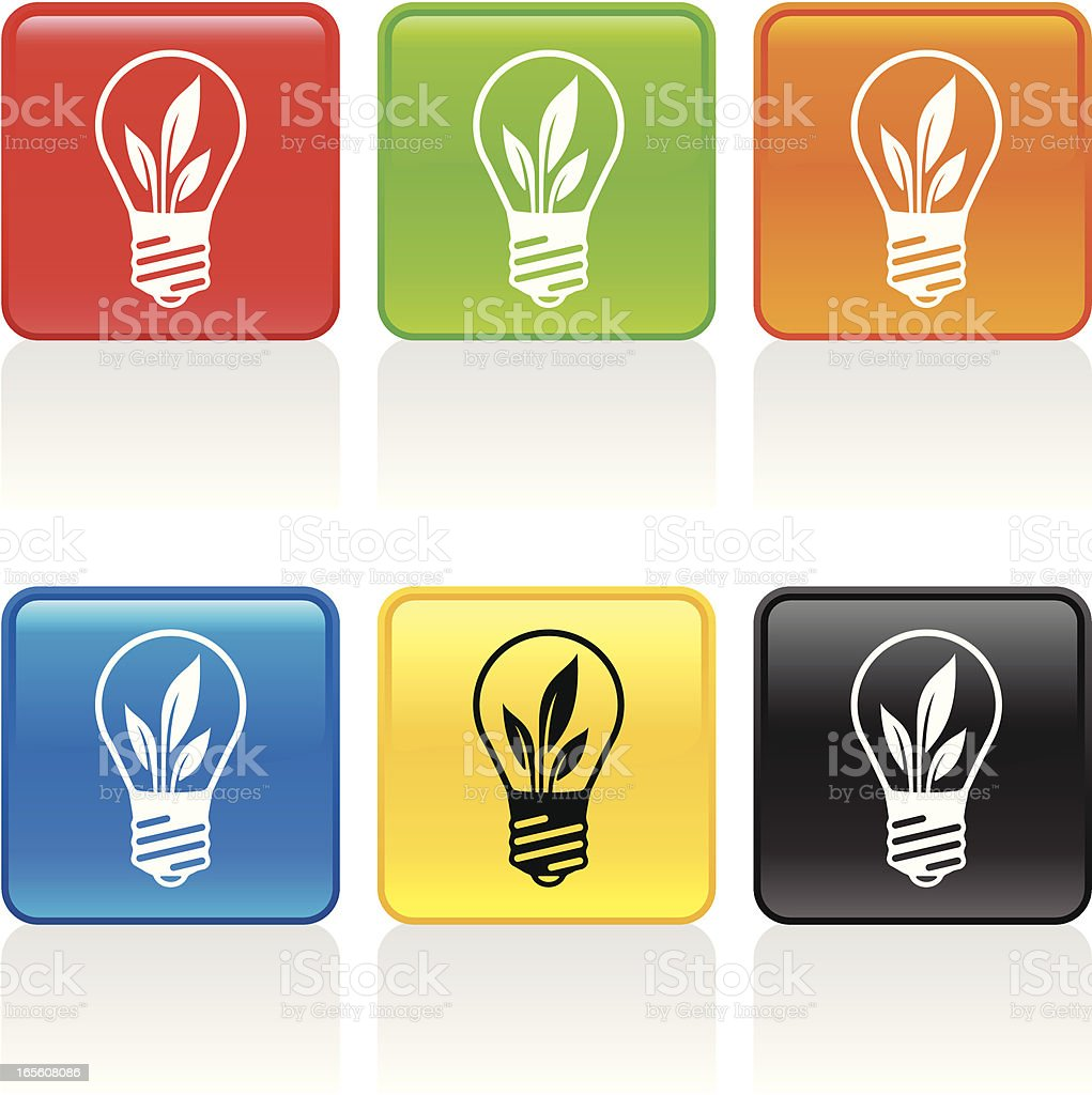 Green Power Icon vector art illustration