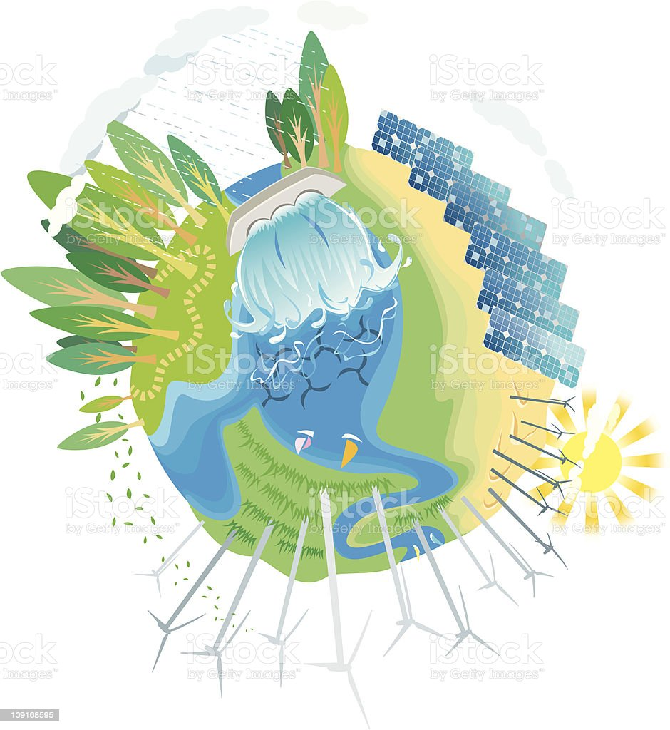 ECO green power planet 2 royalty-free stock vector art