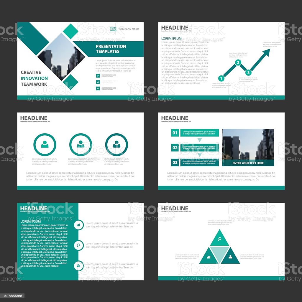 Green presentation templates Infographic elements flat design brochure flyer vector art illustration