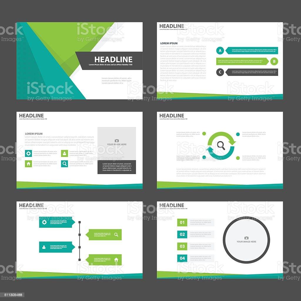 グリーンのプレゼンテーションテンプレートインフォグラフィック要素フラットデザインセット ベクターアートイラスト