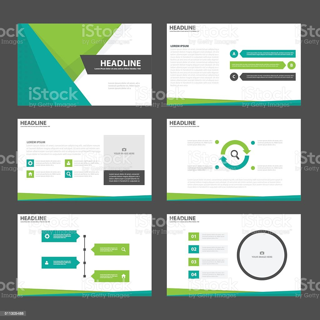 Green presentation templates Infographic elements flat design set vector art illustration