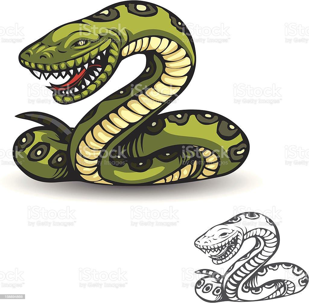 Green Python vector art illustration