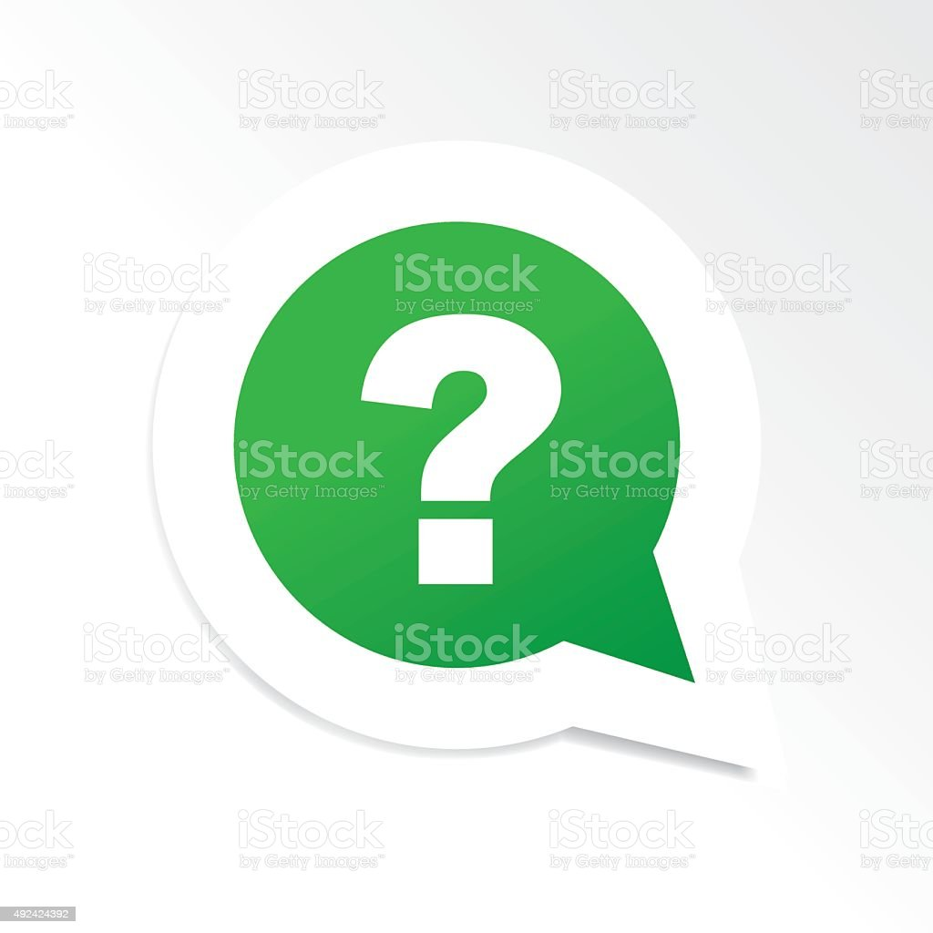 Green question mark in speech bubble icon vector art illustration