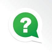 Green question mark in speech bubble icon
