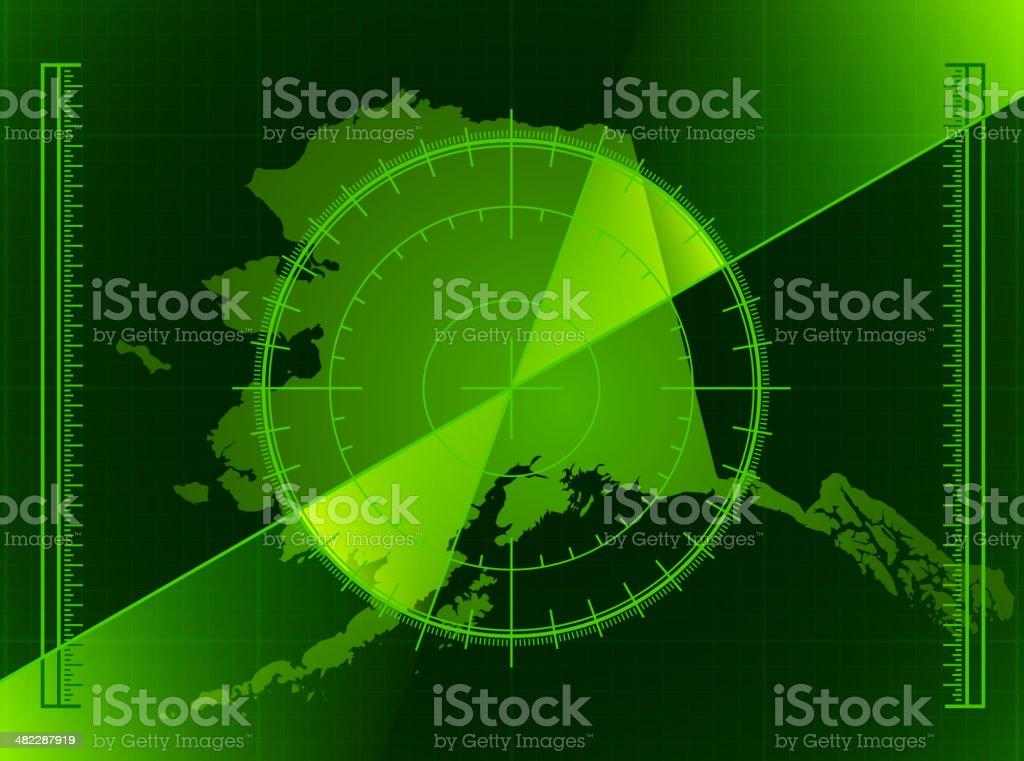 Green Radar Screen and Alaska State Map royalty-free stock vector art