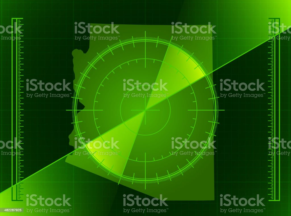 Green Radar Screen and Arizona State Map royalty-free stock vector art