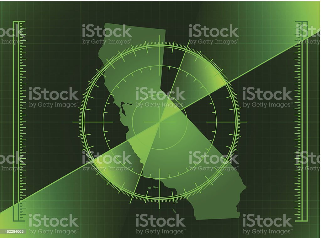 Green Radar Screen and California State Map royalty-free stock vector art