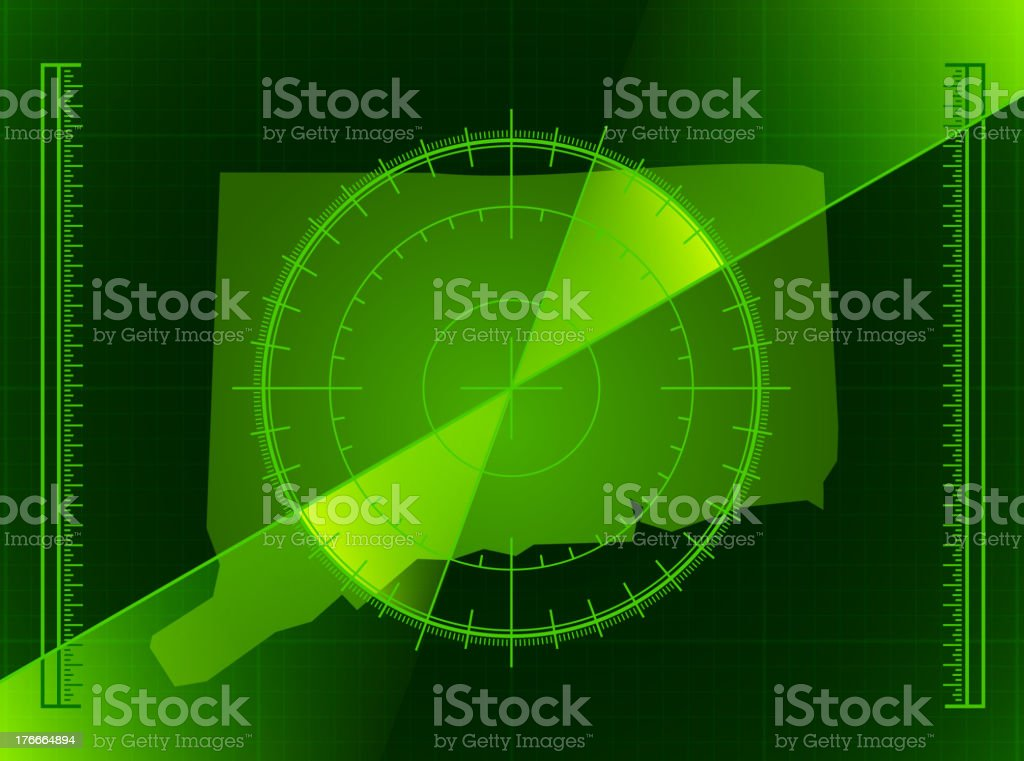 Green Radar Screen and Connecticut State Map royalty-free stock vector art