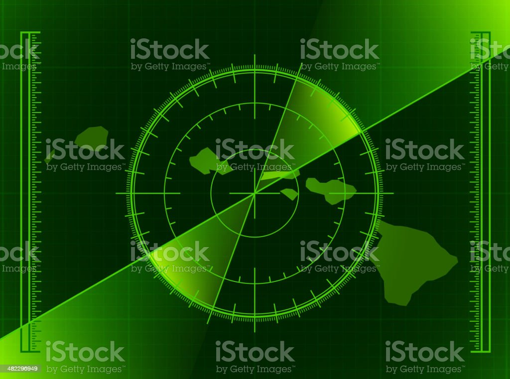 Green Radar Screen and Hawaii State Map royalty-free stock vector art