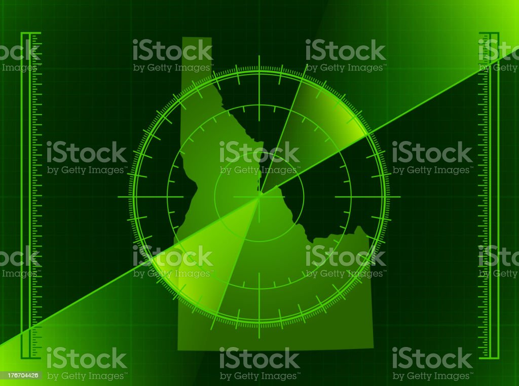 Green Radar Screen and Idaho State Map royalty-free stock vector art
