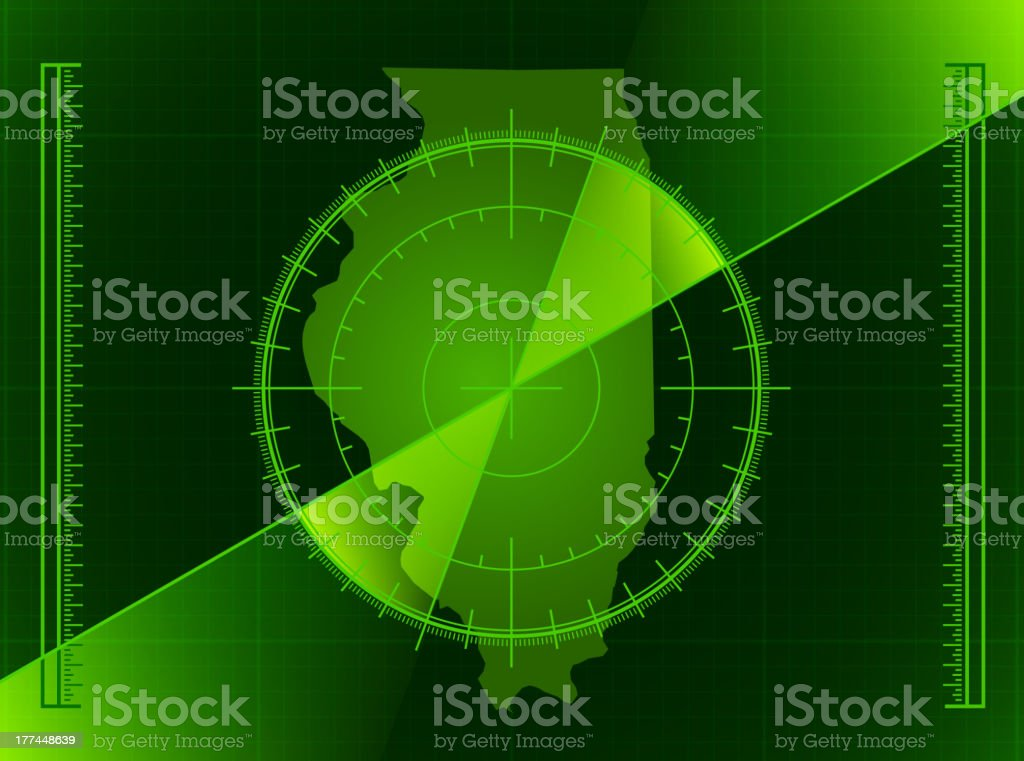 Green Radar Screen and Illinois State Map royalty-free stock vector art