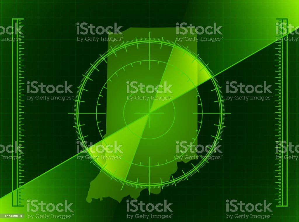 Green Radar Screen and Indiana State Map vector art illustration