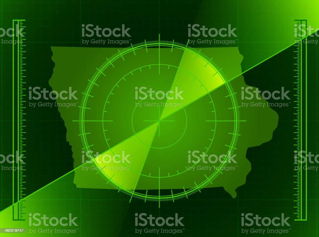 Green Radar Screen and Iowa State Map royalty-free stock vector art
