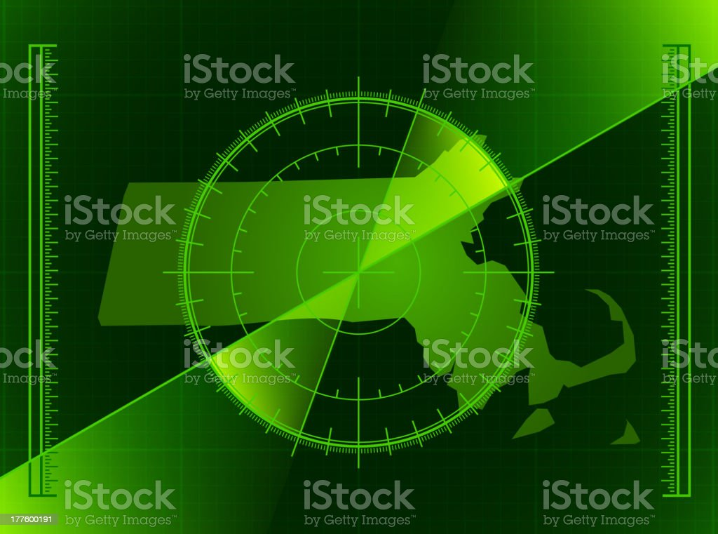 Green Radar Screen and Massachusetts State Map royalty-free stock vector art