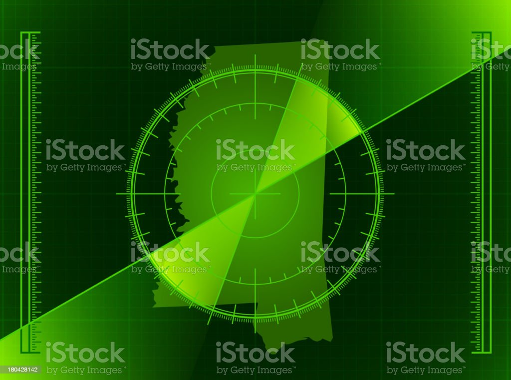Green Radar Screen and Mississippi State Map royalty-free stock vector art
