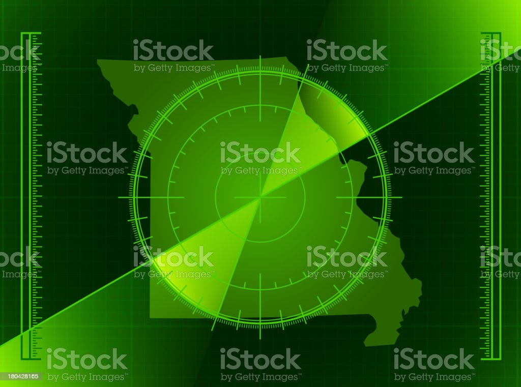 Green Radar Screen and Missouri State Map royalty-free stock vector art