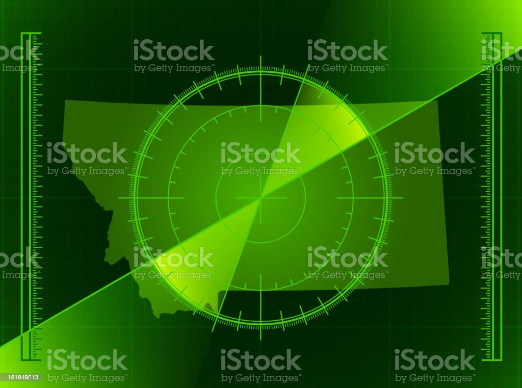 Green Radar Screen and Montana State Map royalty-free stock vector art