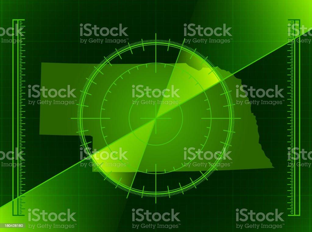 Green Radar Screen and Nebraska State Map royalty-free stock vector art