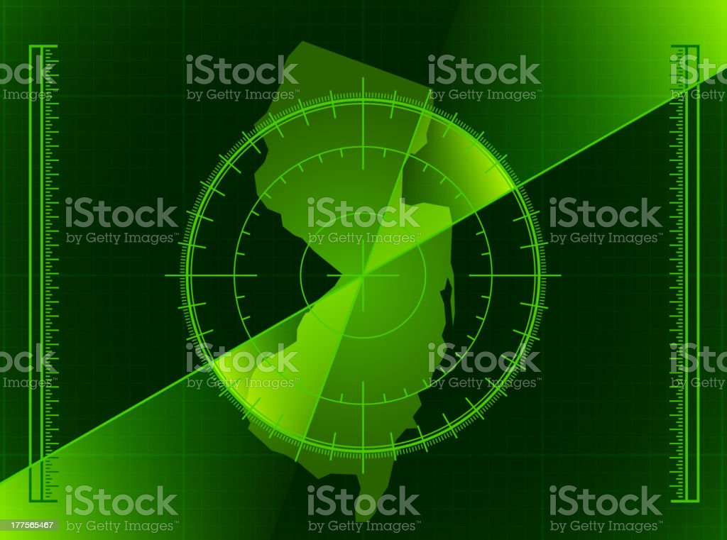 Green Radar Screen and New Jersey State Map royalty-free stock vector art