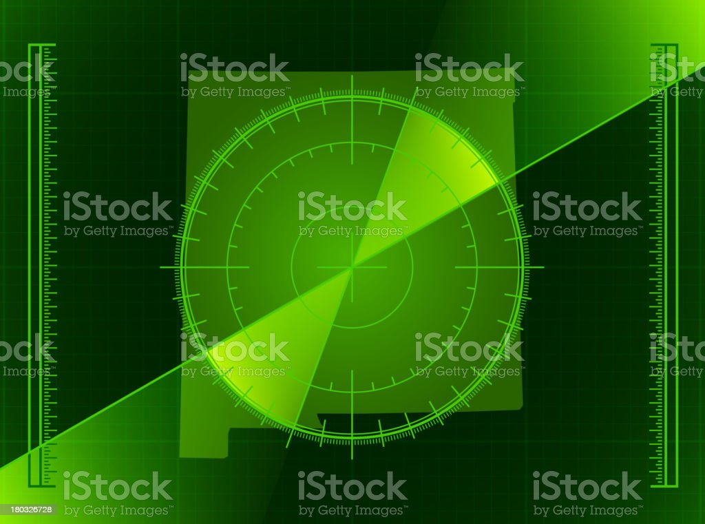 Green Radar Screen and New Mexico State Map royalty-free stock vector art