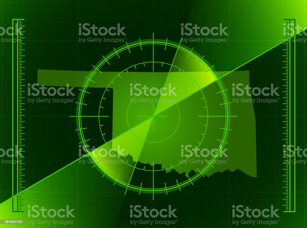 Green Radar Screen and Oklahoma State Map royalty-free stock vector art