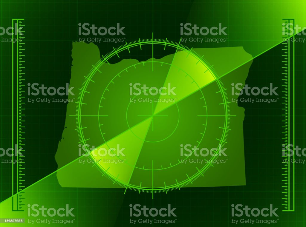 Green Radar Screen and Oregon State Map royalty-free stock vector art