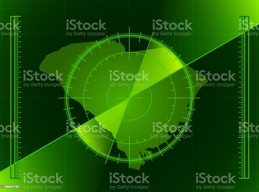 Green Radar Screen and South Carolina State Map royalty-free stock vector art