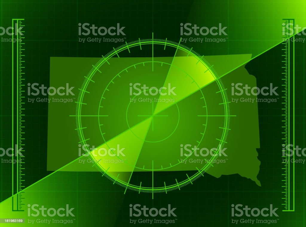 Green Radar Screen and South Dakota State Map royalty-free stock vector art