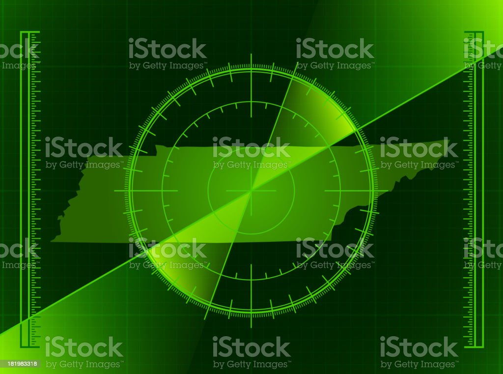 Green Radar Screen and Tennessee State Mape vector art illustration