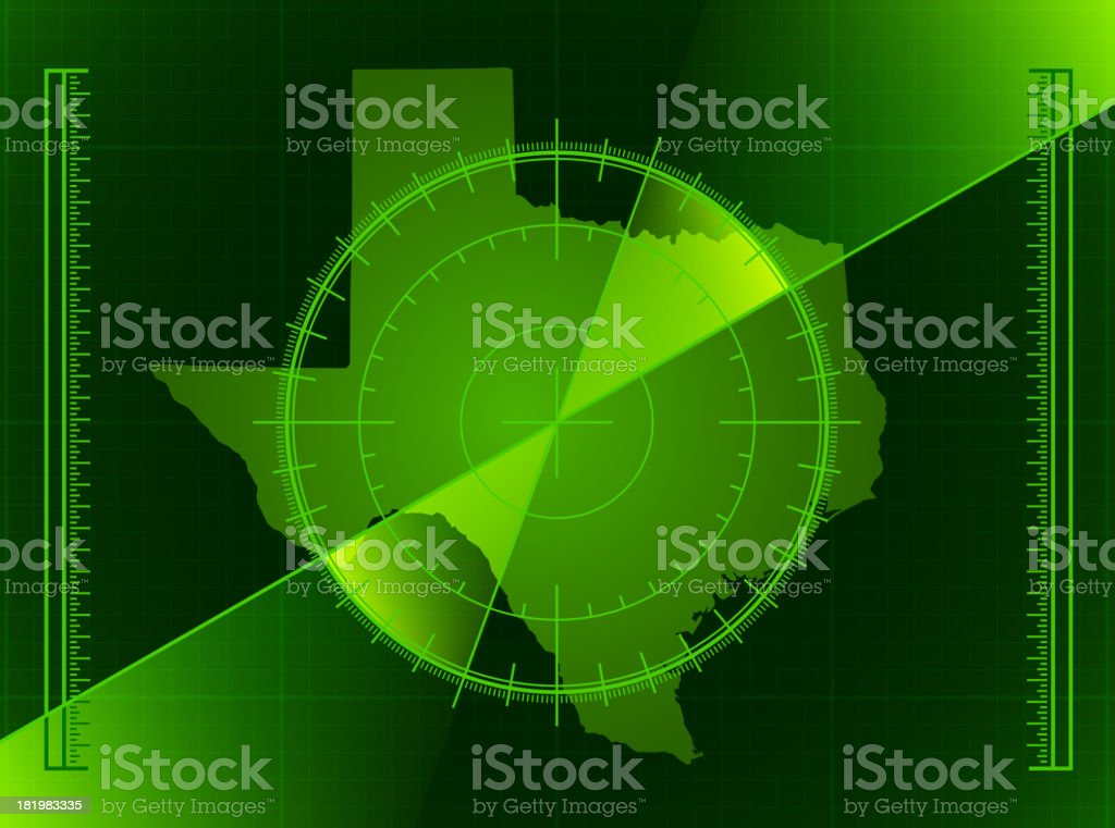 Green Radar Screen and Texas State Map royalty-free stock vector art