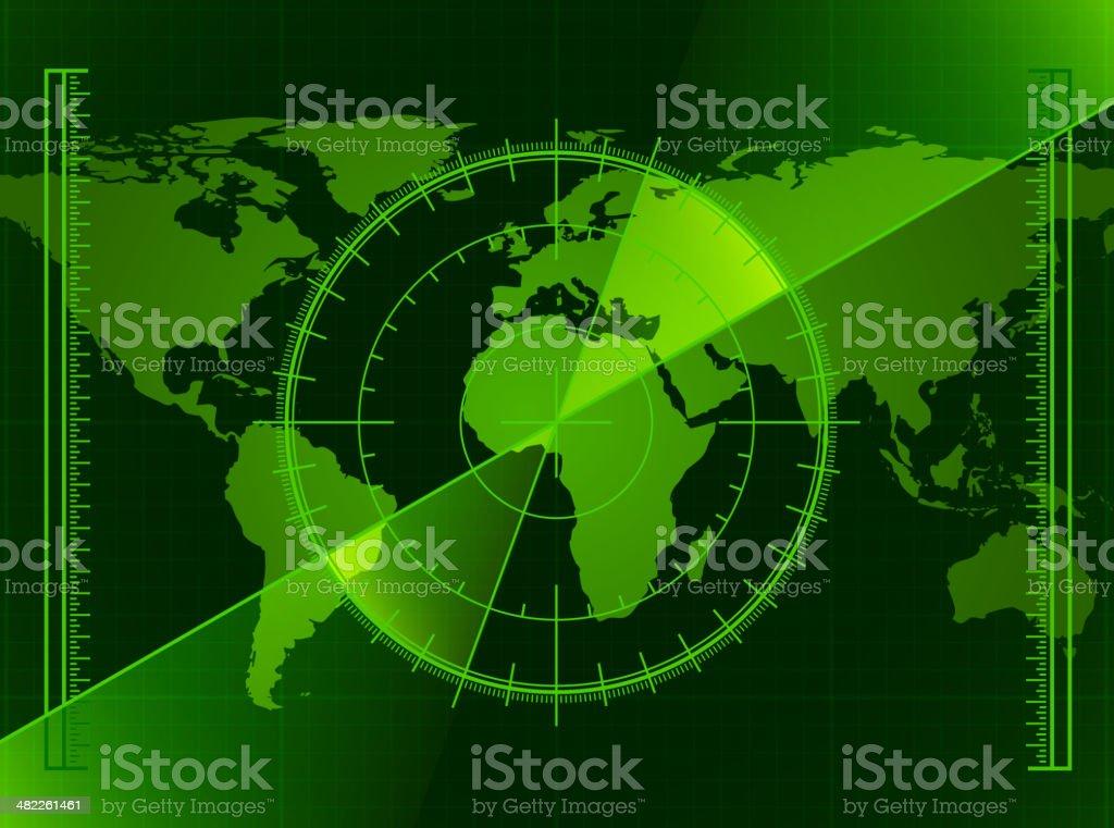 Green Radar Screen and World Map vector art illustration