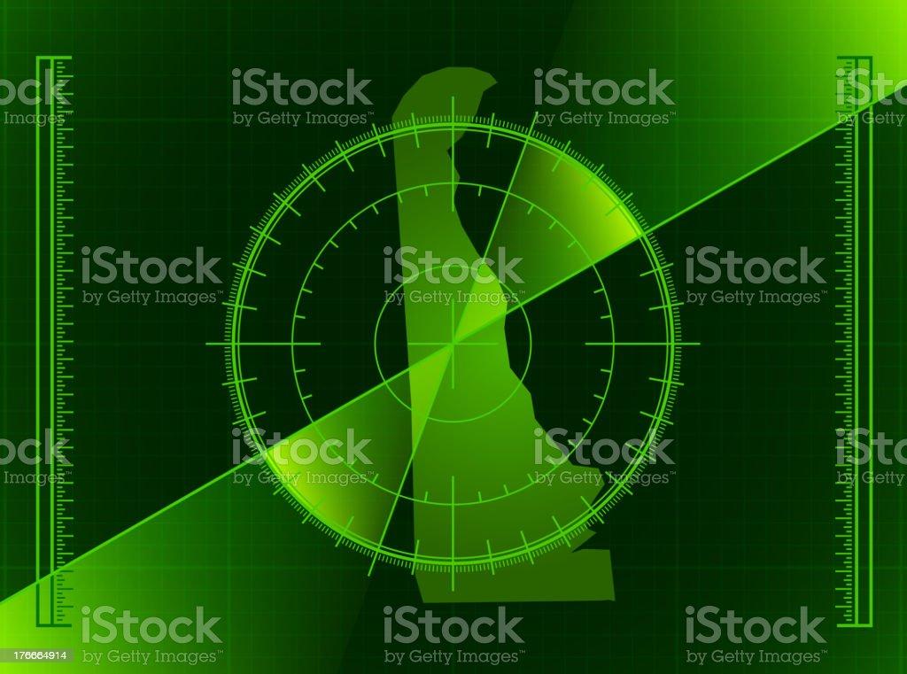 Green radar screen on a map of Delaware state vector art illustration