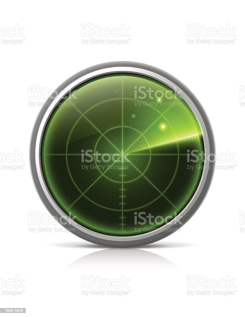 Green radar screen on a white background vector art illustration