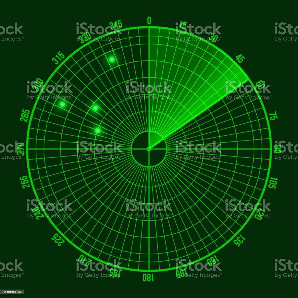 Green Radar Screen. Vector vector art illustration