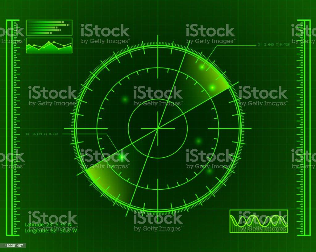 Green Radar Screen with Targets vector art illustration