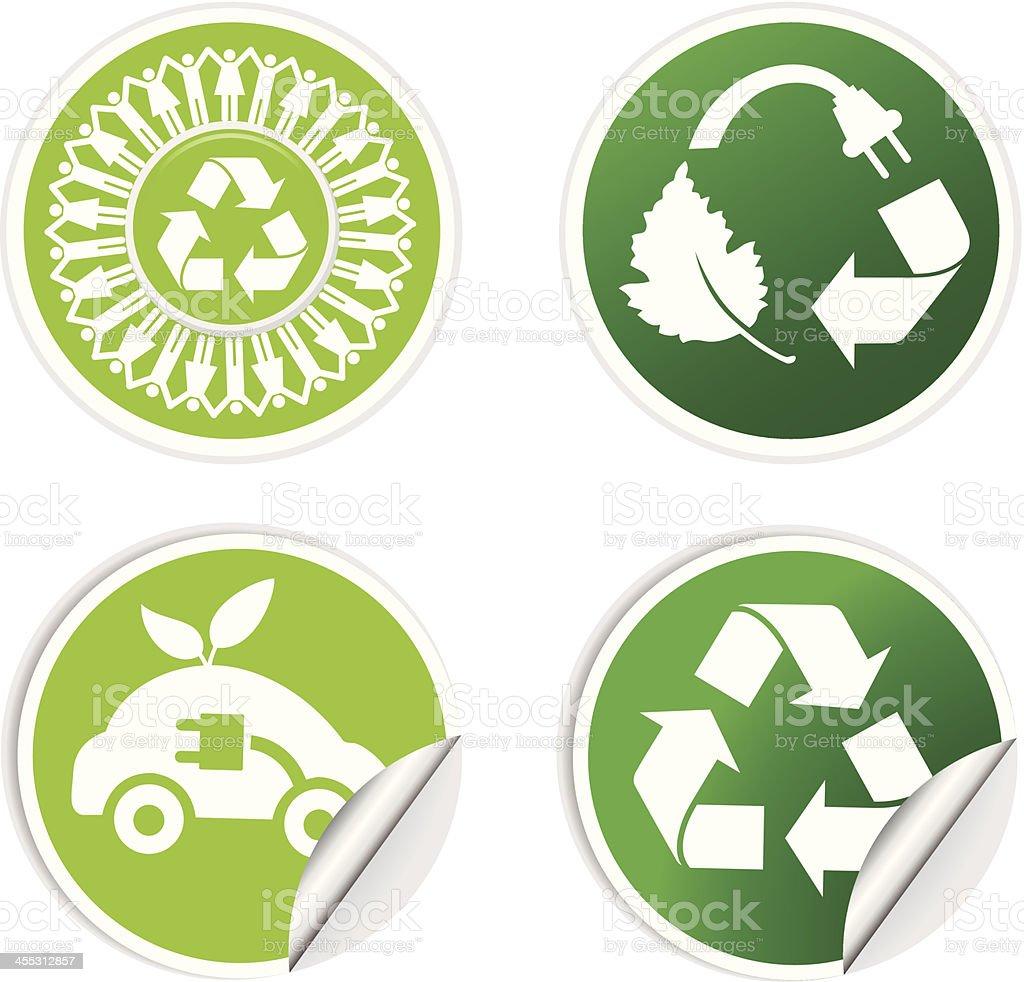 green recycle sticker set vector art illustration