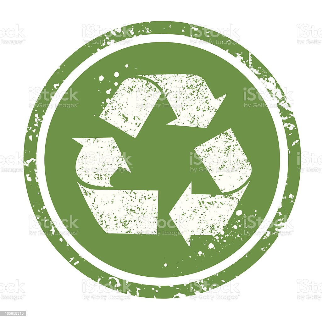 Green recycle symbol in green circle royalty-free stock vector art