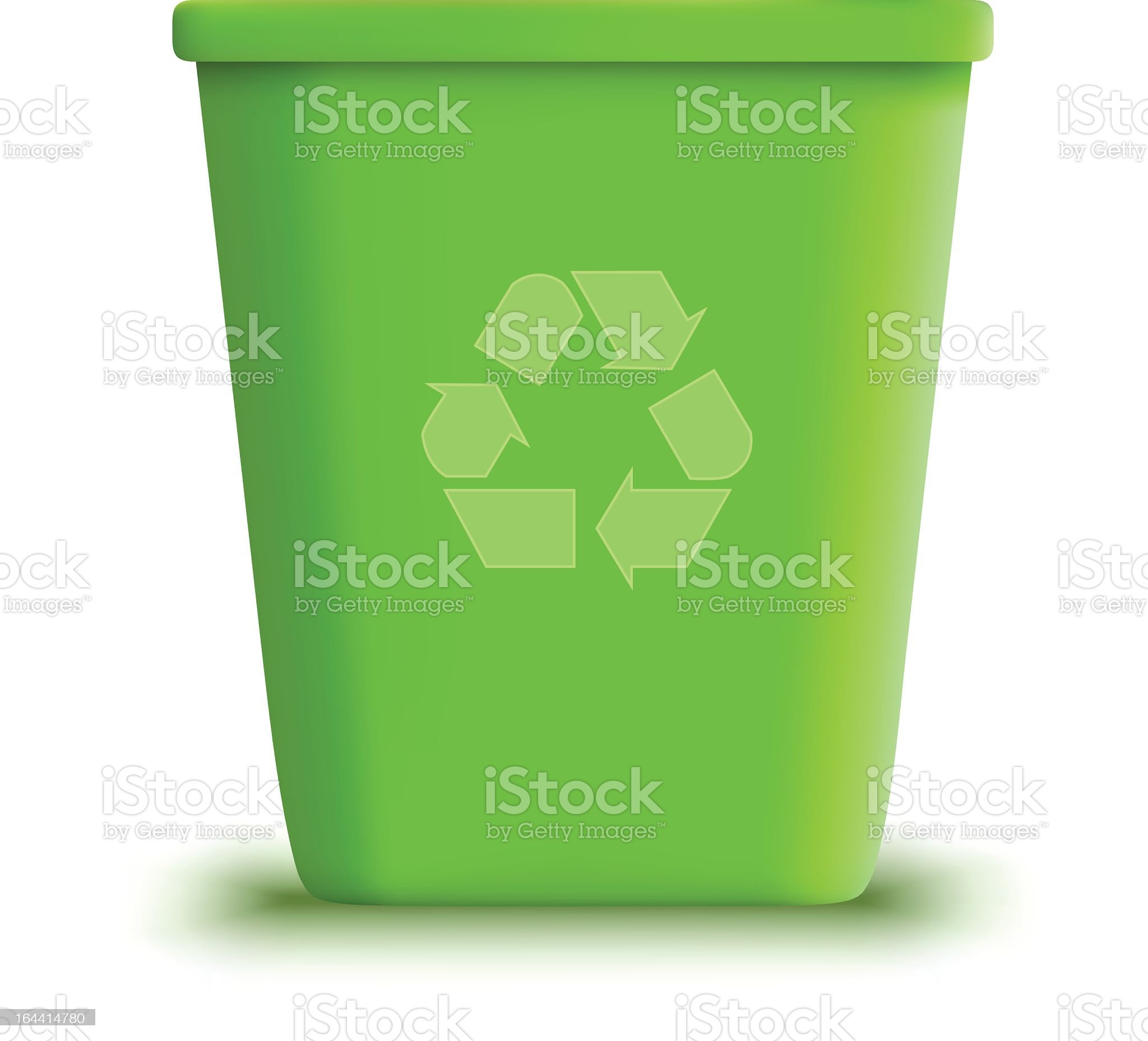 Green recycling garbage can in white background royalty-free stock vector art