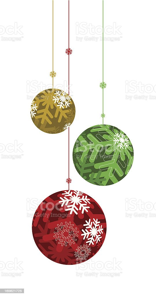Green red and gold Christmas ornament bulbs hanging royalty-free stock vector art