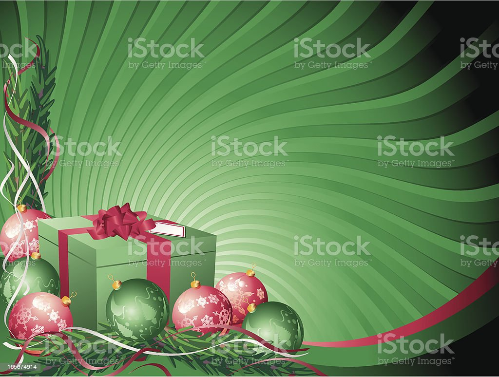 Green Red Christmas Present and Bauble Background royalty-free stock vector art