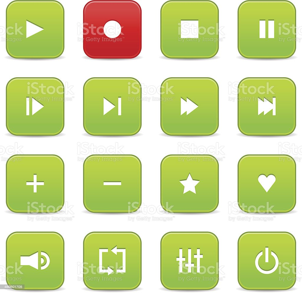 Green red media player audio video icon rounded square button royalty-free stock vector art