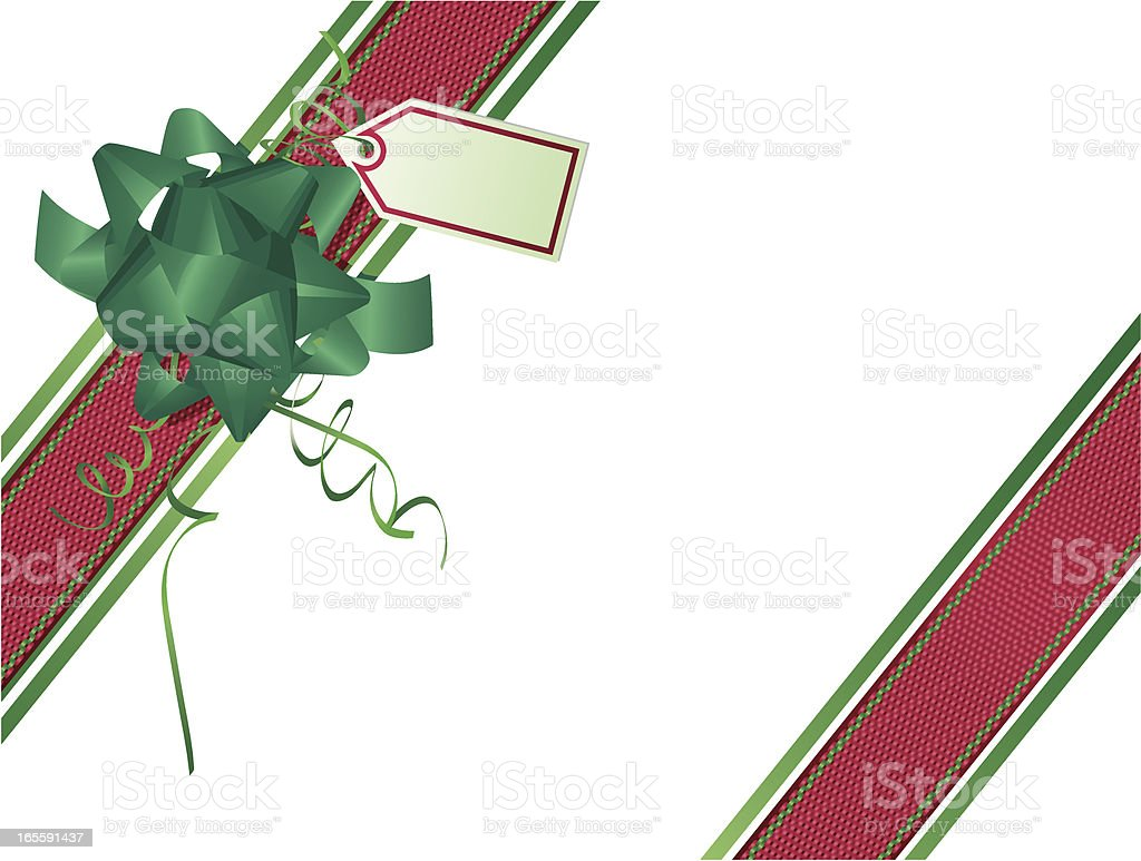 Green Red Ribbons and Wrapping Angle- Christmas royalty-free stock vector art