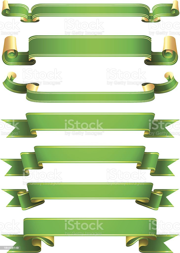 green ribbon banners royalty-free stock vector art