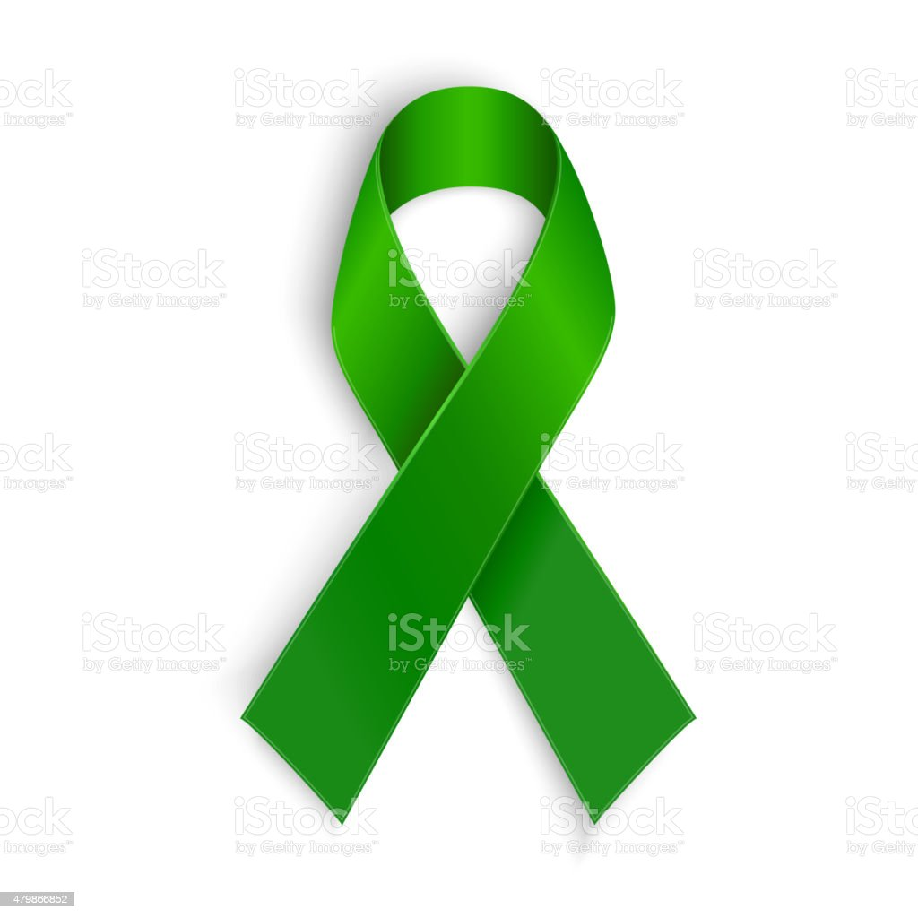 Green ribbon. Scoliosis, Mental health and other awareness symbol. vector art illustration
