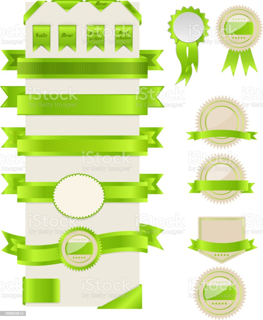 Green ribbons and labels. Vector illustration. royalty-free stock vector art