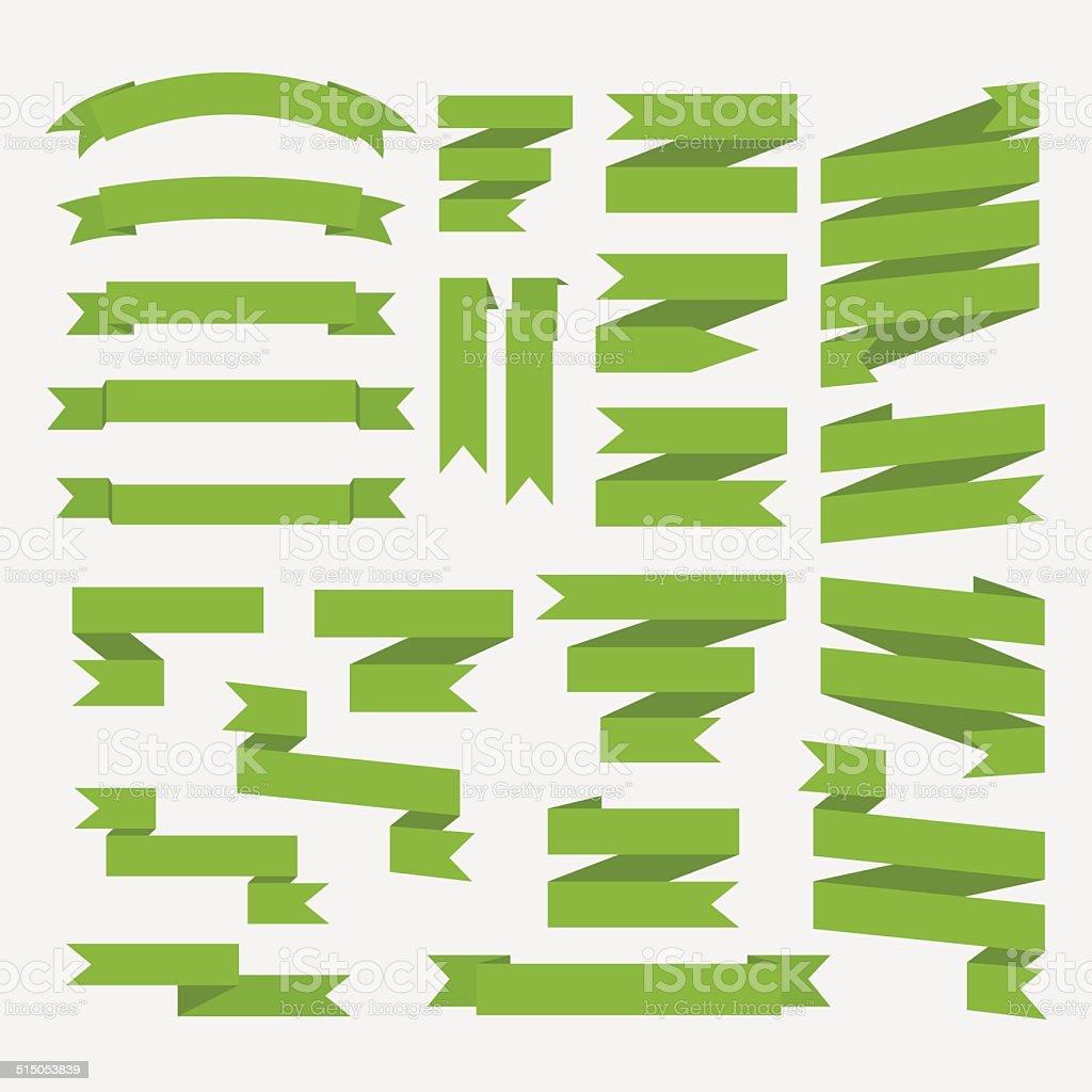 Green  ribbons set isolated on white background.Vector vector art illustration
