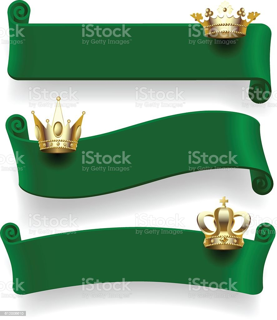 Green ribbons with gold crowns vector art illustration