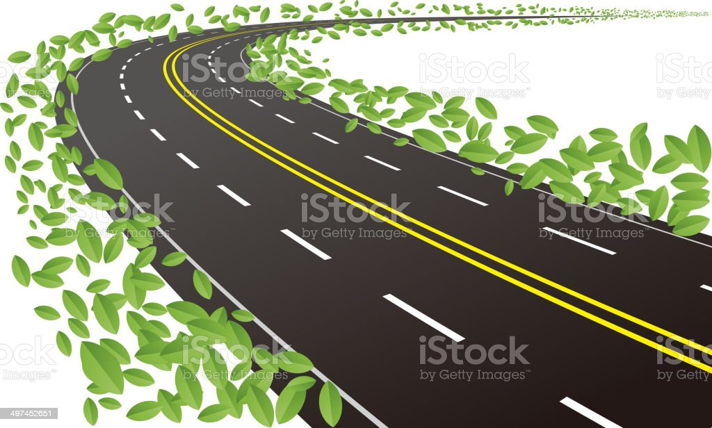 Green road vector art illustration