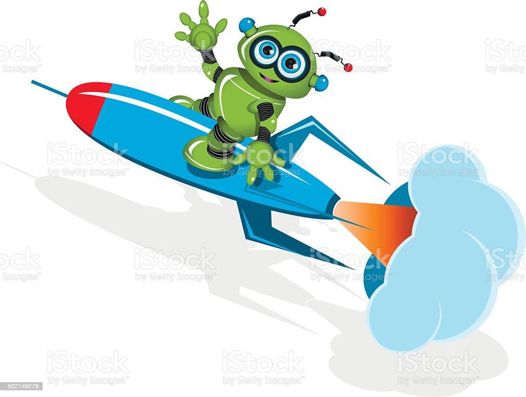 Green robot on the rocket vector art illustration